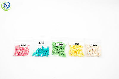 Dental Disposable Contoured Wood Wedges Assorted Sizes XS S M L XL 100 of each