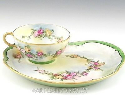 1909 Limoges France HANDPAINTED ROSES CUP AND SNACK PLATE SAUCER Artist Signed
