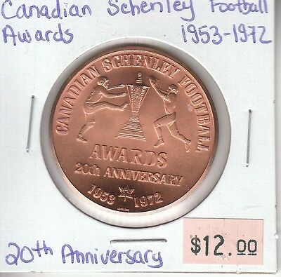 Canadian Schenley Football Awards 1953-1972 - 20th Anniversary