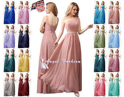 f8112ffae27ac Long Chiffon Lace Evening Formal Party Ball Gown Prom Bridesmaid Dress Size  8-24