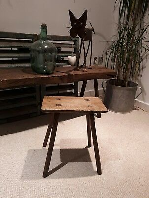 antique stool Milking Stool  Rustic European