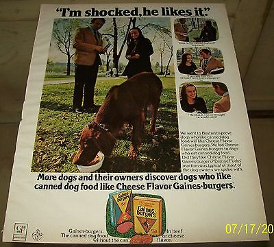 Gaines-burgers for Dogs Beef or Cheese 1973 Original Magazine Advertisement Dogs