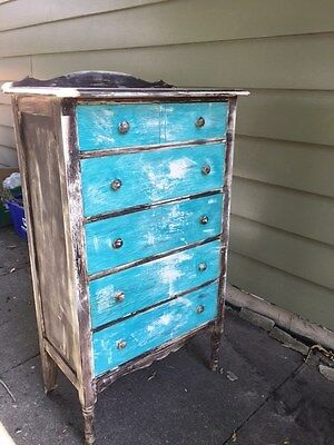 Antique Brown And Turquoise Milk Painted Highboy Dresser-Very Good Condition!