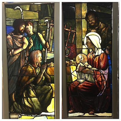 "1898 Tiffany Studios Stained Glass Windows ""Nativity"" pair Alistair Duncan Auth."