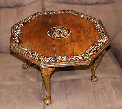 Octagonal Edwardian Walnut Occasional Table Carved Pattern
