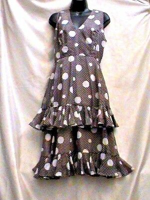 Jerry Silverman Vintage 60s  Ruffles Cocktail Dress brown and white polka dots