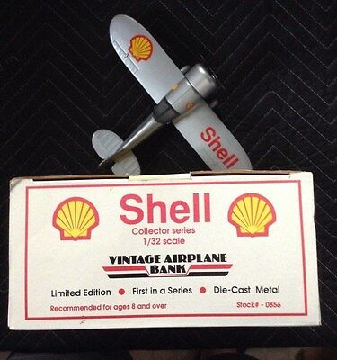 SHELL OIL Travel Air Mystery Ship Airplane Bank w/ Original Box SPEC CAST 1992