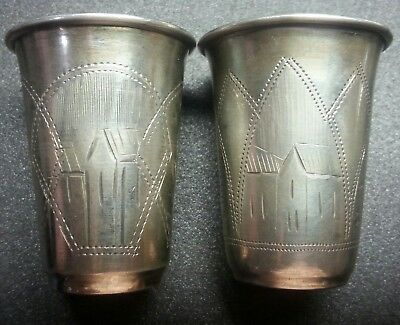 Russian silver 84 hand crafted two vodka cups hand engraved