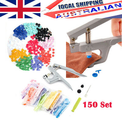 Snap Pliers + 150 Sets T5 Size Snaps Resin Plastic Poppers Fastener Button Stud
