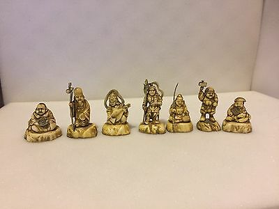 Vintage Small Numbered Oeiental Chinese Statues Plastic Figurines Lot of 7
