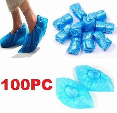 100PCs Home Disposable Medical Plastic Shoe Covers Cleaning Overshoe Covers ^