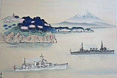 Japanese Woodblock WWII Era U.S. & Japanese Battleships Mt. Fuji Signed