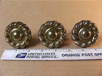 (3) Vintage Brass Finish Drawer Pulls / Knobs -- Large Size --  Screws Included