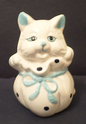 """Porcelain """"Cat in the Bag"""" figurine, White with blue trim and spotted bag, 1991"""