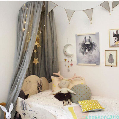 Kids Bedding Round Dome Bed Canopy Cotton Linen Mosquito Net Curtain Decor Warm