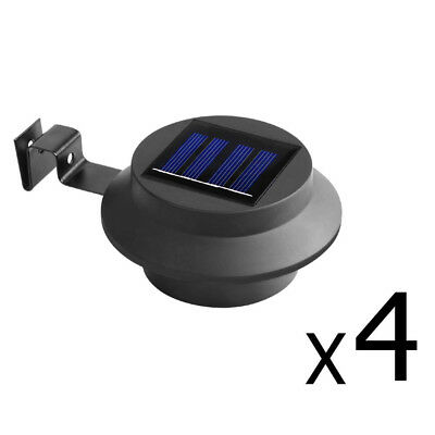 4 x Solar Powered LED Gutter Fence Lights Outdoor Garden Yard Pathway Lamp Black