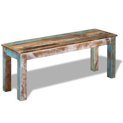 #vidaXL Solid Recycled Timber Bench Seating Side Table 110cm Furniture Vintage