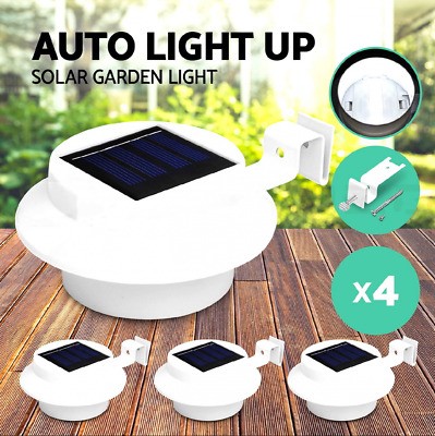 4x Solar Powered LED Gutter Fence Lights Outdoor Garden Yard Pathway Lamp White