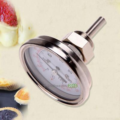 """1/2""""Stainless Steel Thermometer for a Moonshine Still Condenser or Brew Pot Kit"""