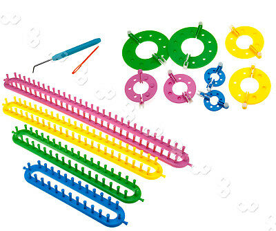 12tlg Strickrahmen+Strickring Knitting Strickliesel Loom Set für Pompom Maker