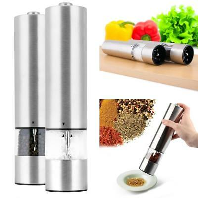 Electric Stainless Steel Pepper Salt Mill Operated One Touch LED Grinder Beamy