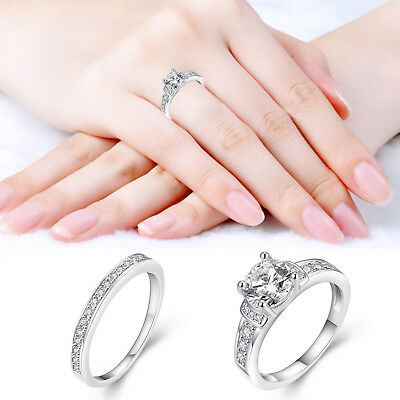 Sparkling Crystal Cubic Zirconia White Gold Plated Wedding Engagement Band Ring