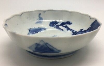 Antique Blue And White Japanese Porcelain Dish 6""