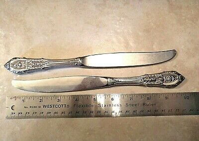 """2 Wallace Rose Point Sterling Silver Modern Dinner Knives - 9 3/4""""--172 GRAMS!"""