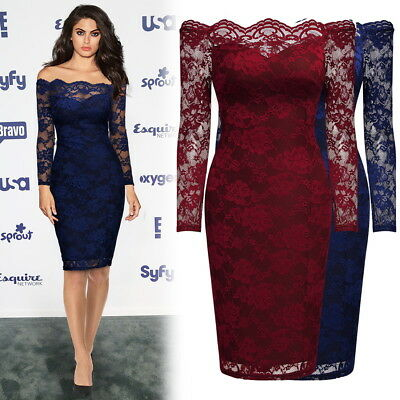 Women's Off Shoulder Lace Elegant Business Cocktail Evening Party Pencil Dresses