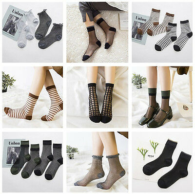 US Stock Women Ruffle Fishnet Ankle High Socks Mesh Lace Fish Net Short Socks