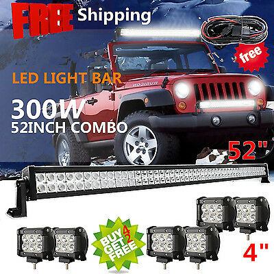 """52inch 300w LED Light Bar + 6x 4"""" CREE Pods Work Offroad SUV Jeep RBP Ford 50"""""""
