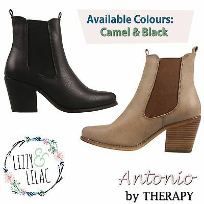 THERAPY Antonio New Women Fashion Shoes Short Ladies Casual Ankle Boots Mid Heel