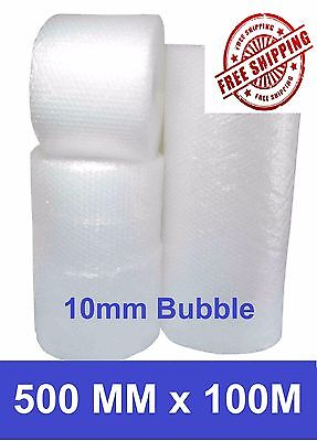 500mm x 100M Bubble Wrap Roll Clear Polycell 10mm Bubbles