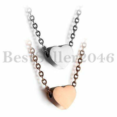 """Fashion Stainless Steel Heart Charm Pendant Women Girls Necklace Chain 19"""" 2pcs"""