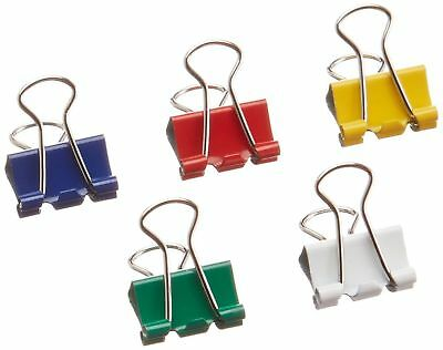 Business Source Mini Binder Clips Pack of 100 Assorted Colors 65360 NEW