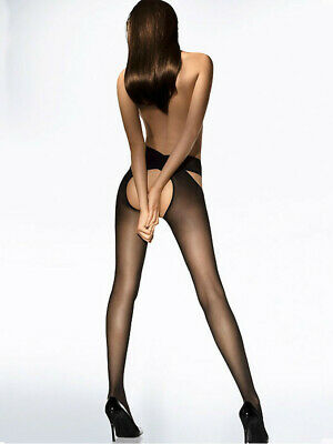 Wolford Individual 12 Denier Stay Hip Crotchless Tights Two Piece Cross Over
