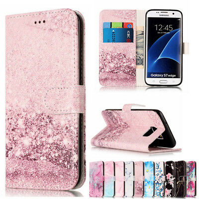 Luxury Leather Marble Flip Wallet Card Holder Case Cover For Samsung Galaxy S8