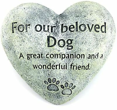 """Rustic Dog Indoor/Outdoor Memorial Heart Stone """"For our Beloved Dog"""" 15x15x6cm"""