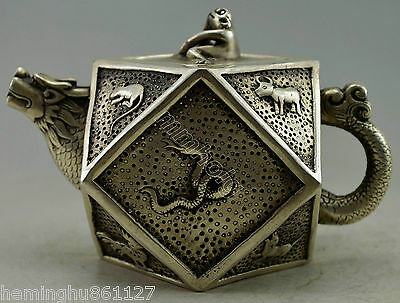 Collectible Decorated Old Handwork Silver Plate Copper China 12 Zodiac Tea Pot