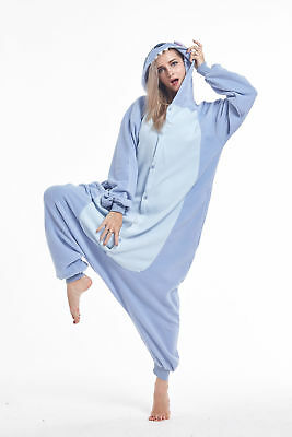 Kigurumi Pajamas Animal Cosplay Costume Unisex Adult Sleepwear Dress Blue Stitch