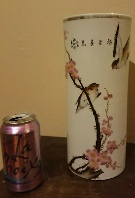 Vintage Chinese Hat Stand Vase with Birds, Cherry Blossoms, Script and Marked!