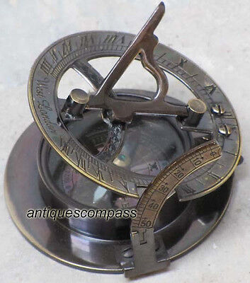 "Solid Brass Nautical Sundial Compass 2.5"" - Working Marine Replica Compass"