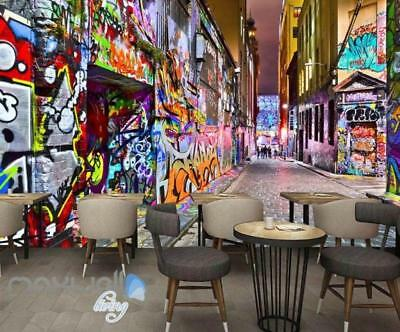 3D Graffiti Building Lane Street Wall Murals Wallpaper Art Decals Prints Decor