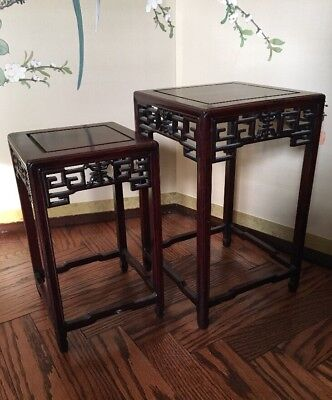 Antique Chinese Carved Scholar Nesting Rosewood Miniature Tables / Stands