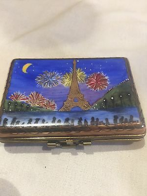 LIMOGES Porcelain Monet Paris Scene Painting Blue Trinket Gift Box