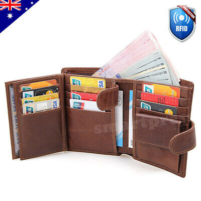 RFID Blocking Genuine Leather Wallet Slim Men's Bifold Credit Card Holder