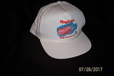 Vintage 1990 COCA-COLA MagiCans Magic Summer WHITE BASEBALL HAT ~ Used