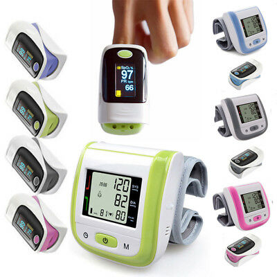 Digital LCD Wrist Blood Pressure Monitor & Finger Pulse Oximeter OLED SpO2&PR UK