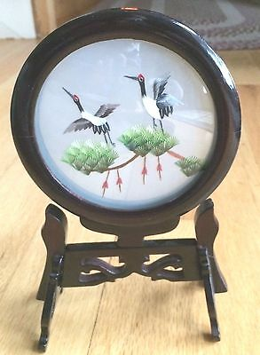 Chinese Cranes Double Sided Silk Embroidery Tabletop Art Carved Wood Stand
