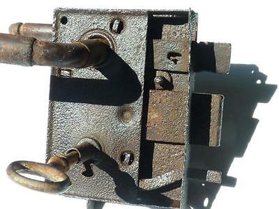 Antique  Handforged Iron Door Lock 19c.with key